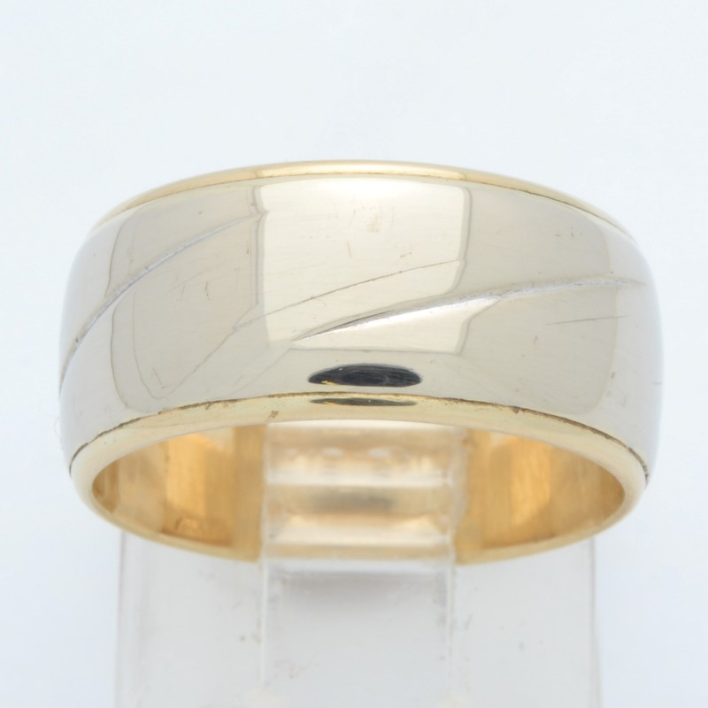 ESTATE SOLID 14K YELLOW GOLD RING BAND WEDDING THICK 8MM WIDE SIZE 6