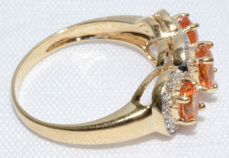 CITRINE AND DIAMOND VINTAGE 14K YELLOW GOLD RING Size:7