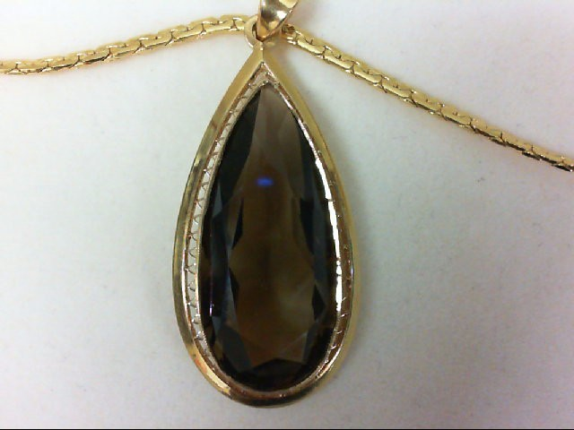 LARGE SMOKY QUARTZ TearDrop Brown Stone Gold-Stone Pendant 18K Yellow Gold 14.6g
