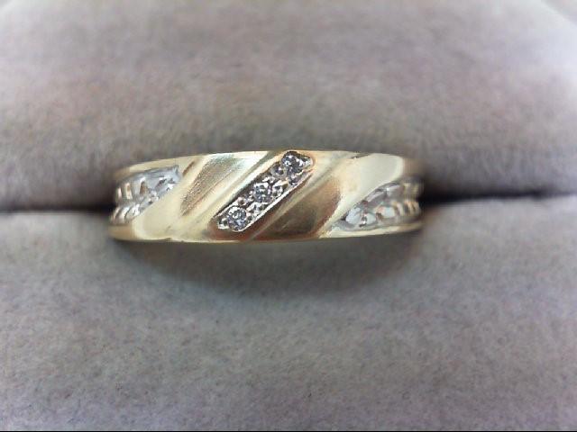 Gent's Gold-Diamond Wedding Band 3 Diamonds .03 Carat T.W. 14K Yellow Gold 2.5g