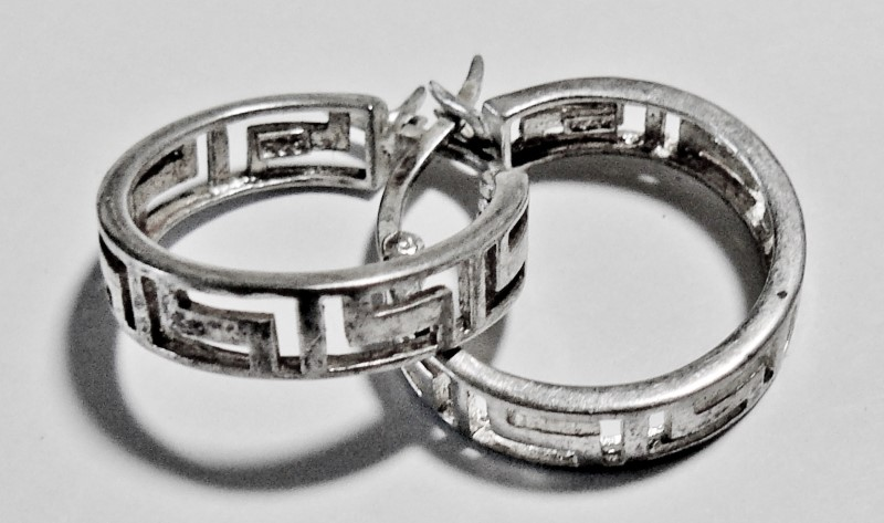 Silver Aztec Design Hooop Earrings 925 Silver 2.4dwt