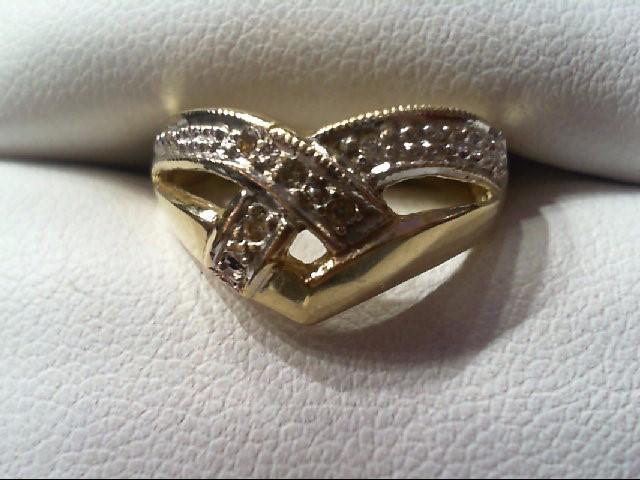 Lady's Diamond Fashion Ring 5 Diamonds .05 Carat T.W. 14K 2 Tone Gold 3.2g