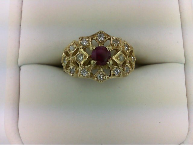 Ruby Lady's Stone & Diamond Ring 14 Diamonds 0.28 Carat T.W. 14K Yellow Gold 4.4