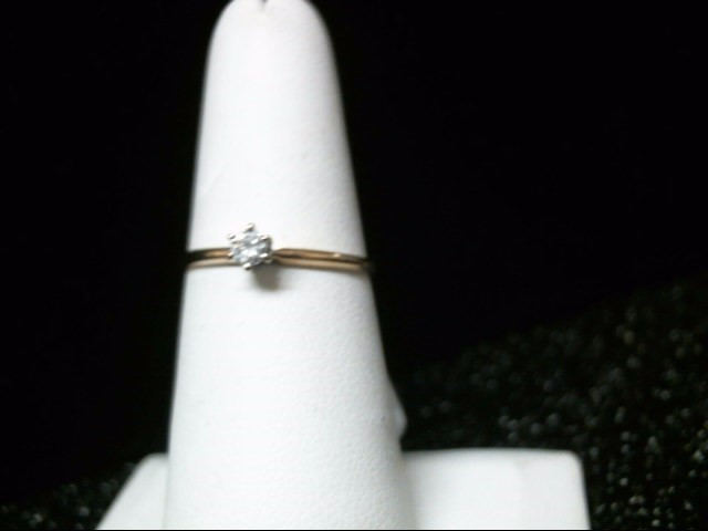 Lady's Diamond Solitaire Ring .13 CT. 10K Yellow Gold 1g Size:8