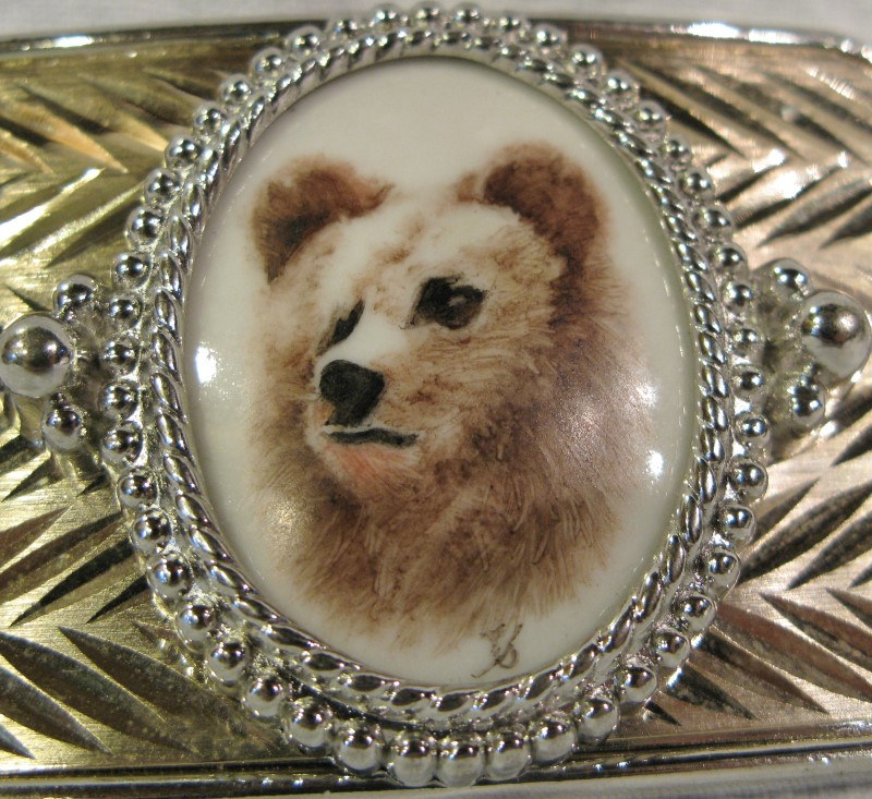 Western Wildlife Grizzly Bear Silvertone Buckle