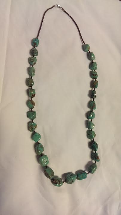 """27"""" Turquoise Stone Necklace Black Stainless 39dwt"""