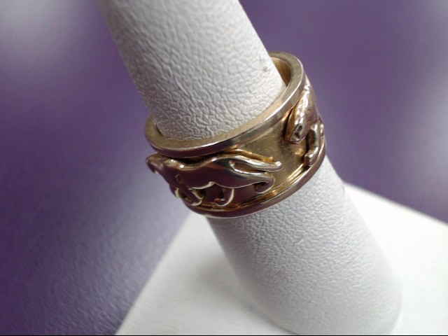 14K Yellow Gold Ring w/ Lion on Band Size:7
