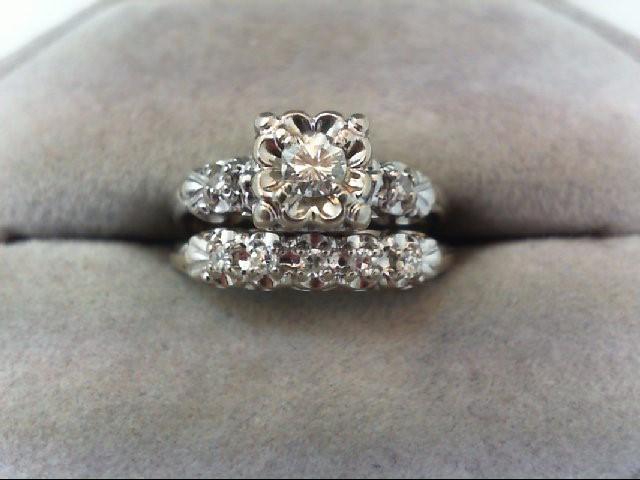 Lady's Diamond Wedding Set 8 Diamonds .29 Carat T.W. 14K White Gold 4.6g