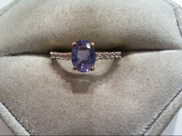 Tanzanite Lady's Stone Ring 10K Yellow Gold 1.3g