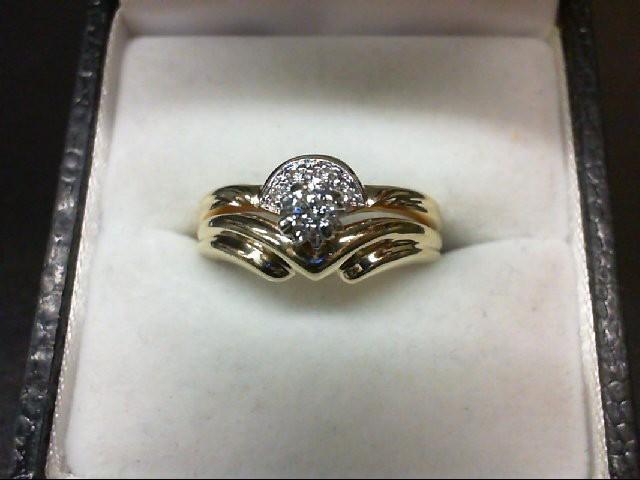Lady's Diamond Wedding Set 5 Diamonds 0.16 Carat T.W. 14K Yellow Gold 3.8g