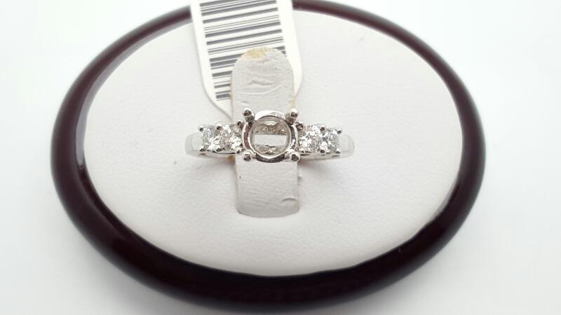 Lady's Diamond Engagement Ring 4 Diamonds .36 Carat T.W. 18K White Gold 4.2g