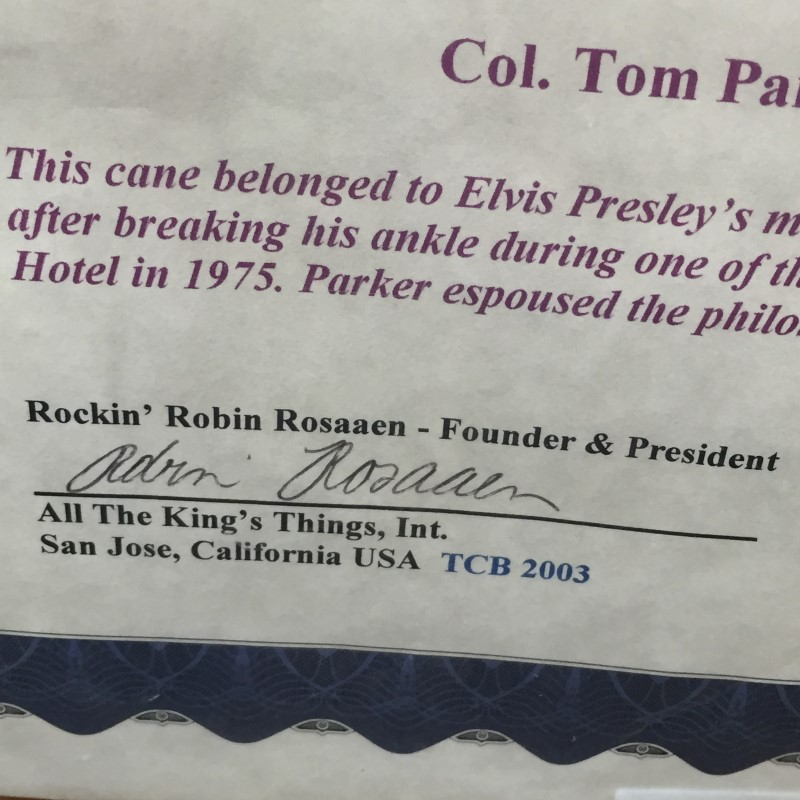 Colonel Parker Elvis Presley's Manager Cane with Photos Framed with COA