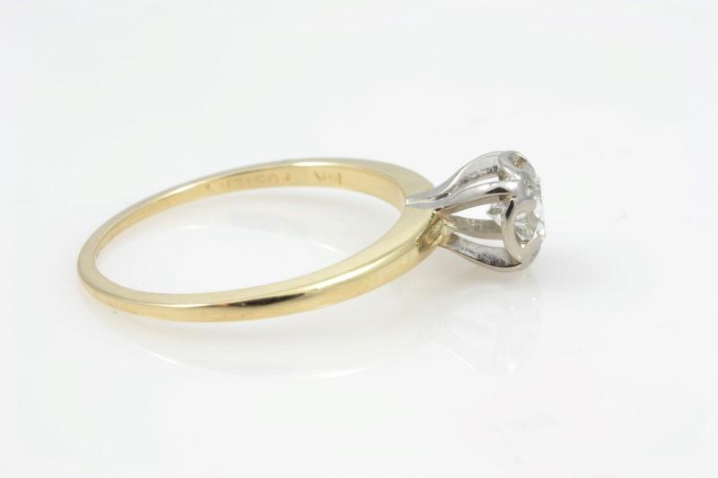 ESTATE DIAMOND RING SOLID 14K GOLD ENGAGEMENT WEDDING ROUND SIZE 6