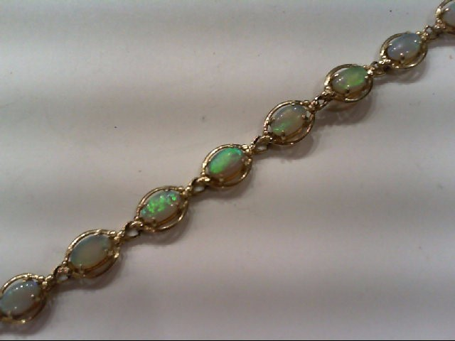 Opal Gold-Stone Bracelet 14K Yellow Gold 6.1g