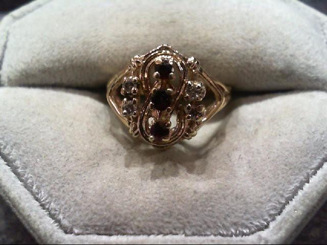 Almandite Garnet Lady's Stone & Diamond Ring 4 Diamonds .08 Carat T.W.