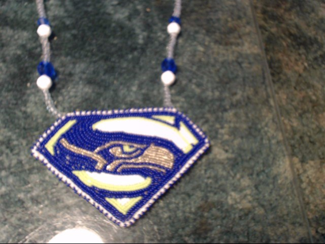 HAND BEADED SEAHAWKS NECKLACE