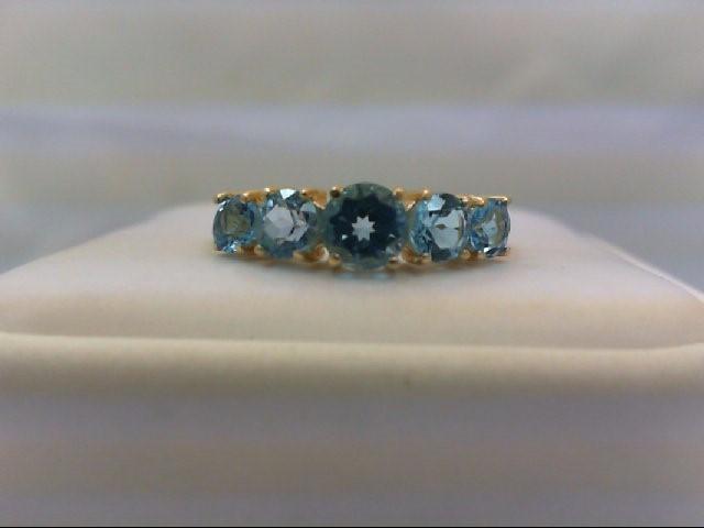 Blue Topaz Lady's Stone Ring 10K Yellow Gold 1.8g