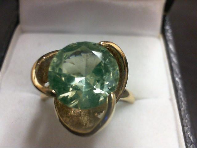 Peridot Lady's Stone Ring 10K Yellow Gold 4.2g