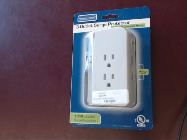 TECH UNIVERSE Battery/Charger 3 OUTLET SURGE PROTECTOR TU1522