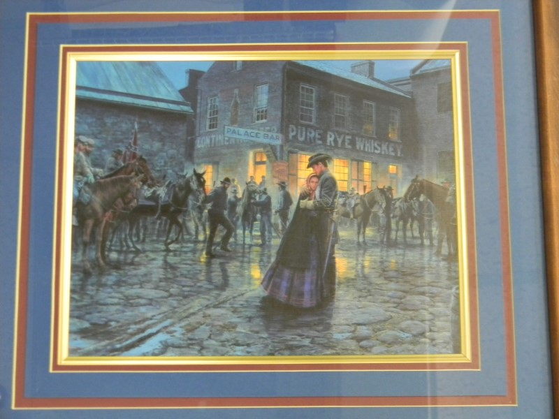 """MORT KUNSTLER """"PALACE BAR"""" PRINT IN A WOODEN FRAME 20X18, PICTURE IS 12X10"""