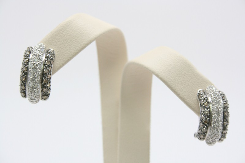 LADY'S CHOCOLATE & WHITE  DIAMOND EARRINGS 14K WHITE GOLD