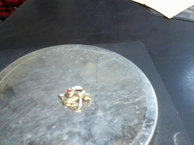 Red Stone Gold-Diamond & Stone Pendant 3 Diamonds .03 Carat T.W.