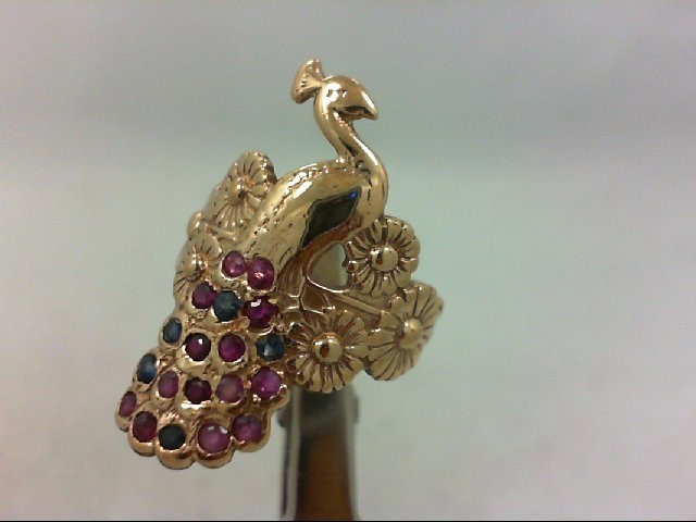VINTAGE Ruby Sapphire Peacock GOLD Lady's Stone Ring 14K Yellow Gold 6.6g