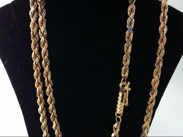 """18"""" Gold Rope Chain 14K Yellow Gold 12.7g"""