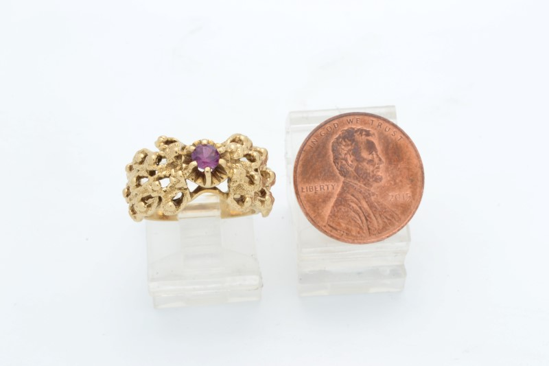 ESTATE RUBY RING SOLID 14K YELLOW GOLD COCKTAIL FILIGREE SIZE 4.5