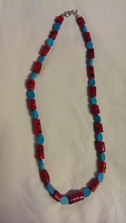 """25"""" Synthetic Coral Stone Necklace Black Stainless 51dwt"""