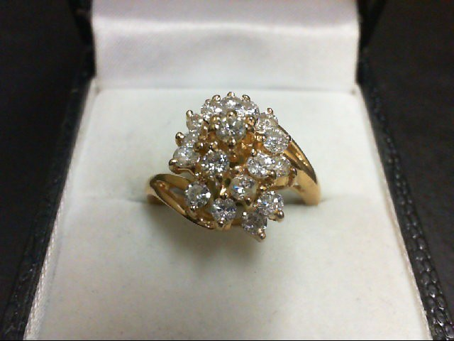 Lady's Diamond Cluster Ring 18 Diamonds 1.26 Carat T.W. 14K Yellow Gold 5.4g