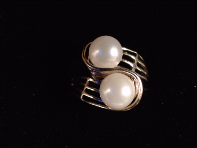 Synthetic Pearl Lady's Stone Ring 10K Yellow Gold 3.3g