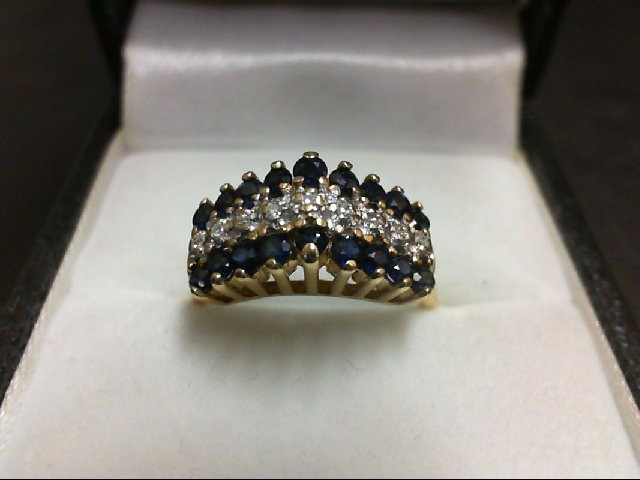 Sapphire Lady's Stone & Diamond Ring 9 Diamonds 0.09 Carat T.W. 14K Yellow Gold