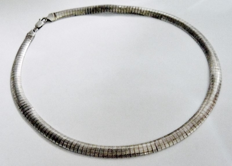 """16"""" Domed Omega Chain 925 Sterling Silver, 8mm Wide - 1/3"""""""