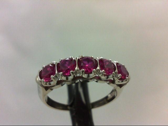 Ruby Lady's Stone Ring 14K White Gold 3.1g Size:6.5