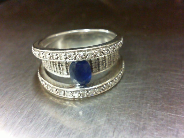 Sapphire Lady's Stone Ring 14K White Gold 8.98g