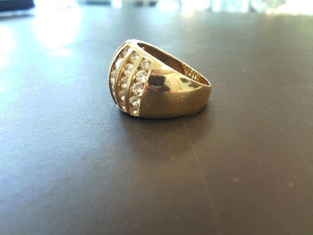 Cubic Zirconia Lady's Stone Ring 14K Yellow Gold 6.58g Size:6