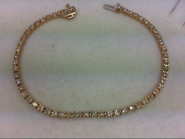 Gold-Diamond Bracelet 55 Diamonds 1.65 Carat T.W. 14K Yellow Gold 7.5g