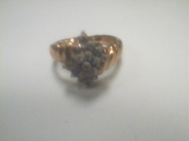 Lady's Diamond Cluster Ring 17 Diamonds .17 Carat T.W. 10K Yellow Gold 2dwt