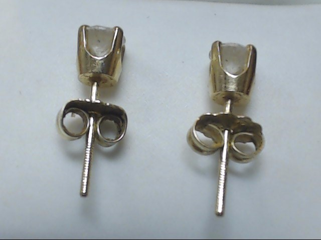 Gold-Diamond Earrings 2 Diamonds .40 Carat T.W. 10K Yellow Gold 0.7g
