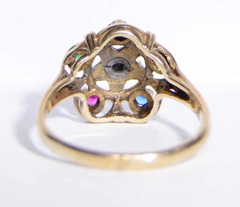 10K Yellow Gold Cathedral Set Order of the Easter Star Multicolored Ring sz 7
