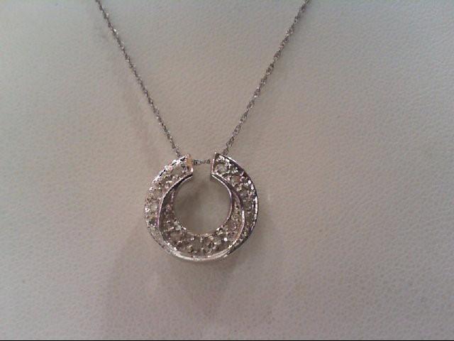 Gold-Multi-Diamond Pendant 14 Diamonds .14 Carat T.W. 10K White Gold 2.5g