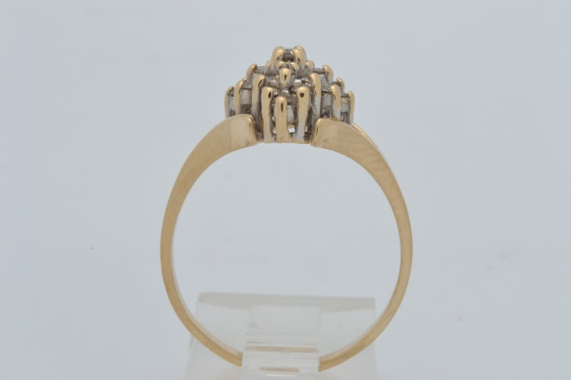 ESTATE DIAMOND CLUSTER RING SOLID 14K YELLOW GOLD COCKTAIL SIZE 8.75