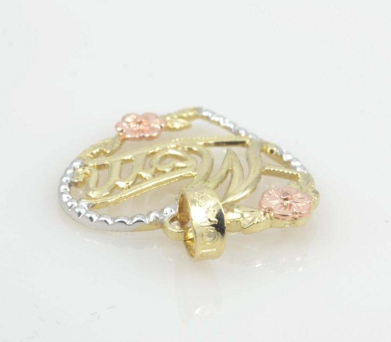 MOM HEART CHARM PENDANT SOLID 10K GOLD MOTHER DAY FLOWER TRI FINE ROSE