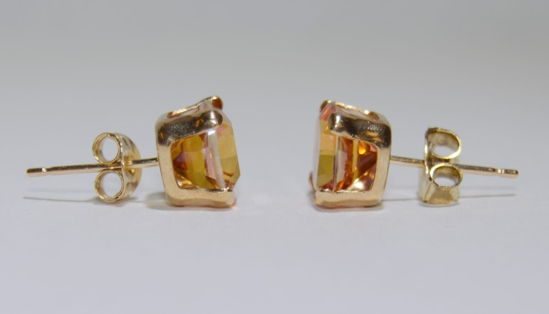 Synthetic Pink Stone Gold-Stone Earrings 10K Yellow Gold 1.27g