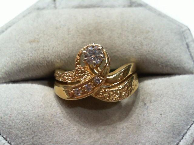 Lady's Diamond Wedding Set 4 Diamonds .21 Carat T.W. 18K Yellow Gold 8.3g