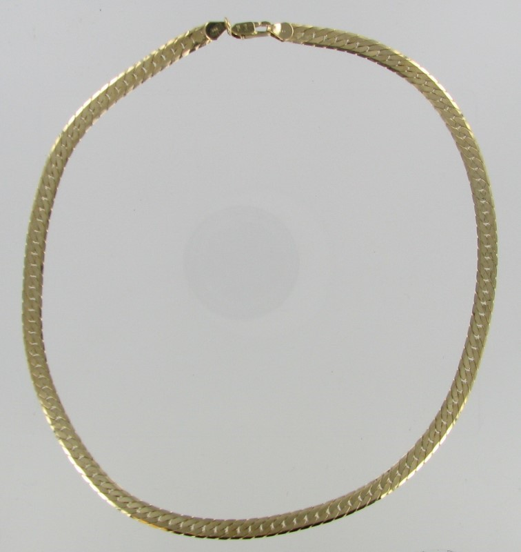 Gold Herringbone Chain 14K Yellow Gold 16.5dwt