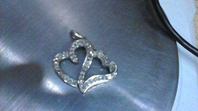 LADY'S STERLING SILVER 925 DIAMOND DOUBLE HEART PENDANT