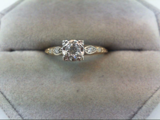 Lady's Diamond Engagement Ring 3 Diamonds .27 Carat T.W. 14K 2 Tone Gold 2.2g