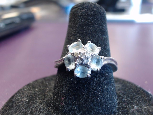 Blue Stone Lady's Stone Ring 10K White Gold 3g